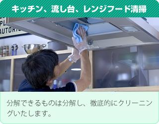 キッチン、流し台、レンジフード清掃:分解できるものは分解し、徹底的にクリーニングいたします。