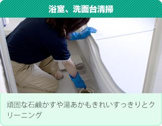 浴室、洗面台清掃:頑固な石鹸かすや湯あかもきれいすっきりとクリーニング