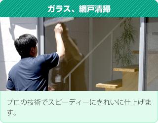 ガラス、網戸清掃:プロの技術でスピーディーにきれいに仕上げます。
